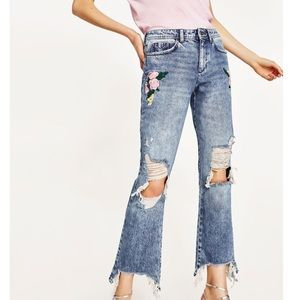 Zara Raw hem Embroidery Denim Size 28